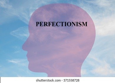 Render illustration of Perfectionism title on head silhouette, with cloudy sky as a background.