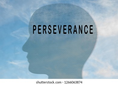 Render illustration of PERSEVERANCE title on head silhouette, with cloudy sky as a background.