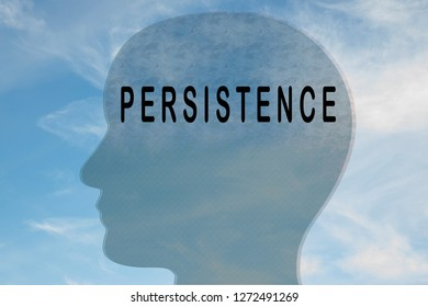 Render illustration of PERSISTENCE title on head silhouette, with cloudy sky as a background.