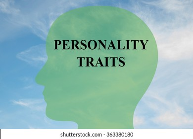 Render illustration of Personality Traits title on head silhouette, with cloudy sky as a background