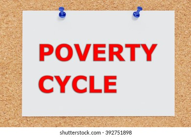 Render illustration of POVERTY CYCLE script on cork board. Social concept.