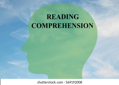 "Render illustration of ""READING COMPREHENSION"" script on head silhouette, with cloudy sky as a background."