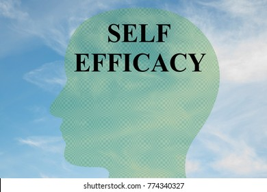 "Render illustration of ""SELF EFFICACY"" title on head silhouette, with cloudy sky as a background."