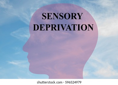 """Render illustration of """"SENSORY DEPRIVATION"""" title on head silhouette, with cloudy sky as a background."""