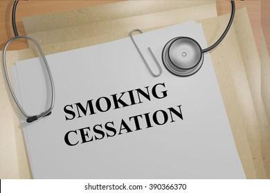 Render illustration of Smoking Cessation title on medical documents