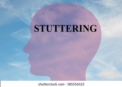 """Render illustration of """"STUTTERING"""" title on head silhouette, with cloudy sky as a background."""