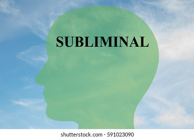 """Render illustration of """"SUBLIMINAL"""" script on head silhouette, with cloudy sky as a background."""