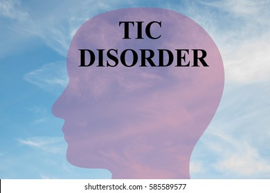 "Render illustration of ""TIC DISORDER"" title on head silhouette, with cloudy sky as a background."