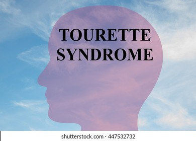"""Render illustration of """"TOURETTE SYNDROME"""" script on head silhouette, with cloudy sky as a background."""