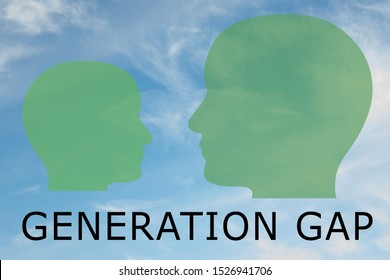Render illustration of two head silhouettes and GENERATION GAP title below, with cloudy sky as a background.