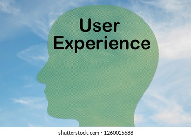 Render illustration of User Experience title on head silhouette, with cloudy sky as a background.