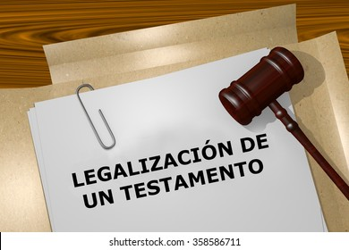 Render illustration of the word Probate expressed in Spanish on Legal Documents