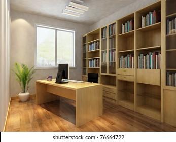 render interior of luxury classic study room