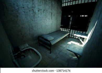 Render of locked old prison cell for one person with bed, sink, toilet and chair. Dark atmosphere.