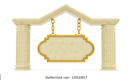 Render of a marble sign, isolated on white
