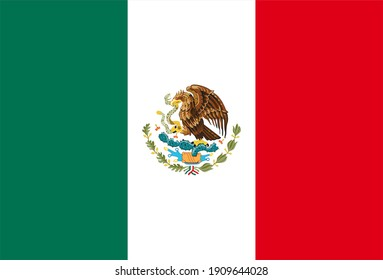 Render of the Mexican flag. Perfect for printing on T-shirts, posters, wall murals, wall murals, mugs, glasses, sun loungers, banners, roll-ups, exhibition walls and any other