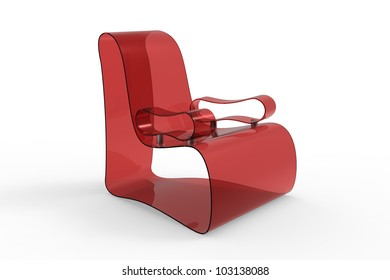 Render of a Modern Acrylic armchair isolated on a white background