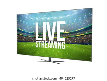 render of a modern television with smart tv showing live streaming. 3d rendering.