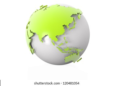 render of a modern world globe showing asia