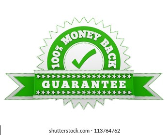 render of Money Back Guarantee sign, isolated on white