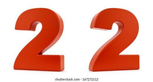 render of the number 2 from two different angles, isolated on white