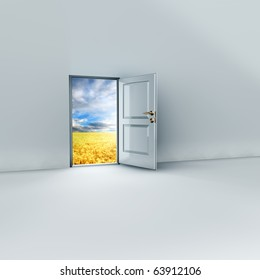 render of an open door to a dreamy place.