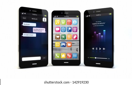 render of an original smartphones with different apps on the screen