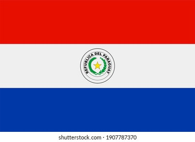 Render of the Paraguay flag. Perfect for printing on T-shirts, posters, wall murals, wall murals, mugs, glasses, sun loungers, banners, roll-ups, exhibition walls and any other
