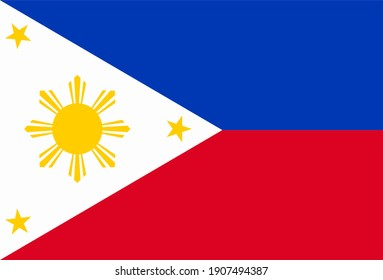 Render of the Philippines flag. Perfect for printing on T-shirts, posters, wall murals, wall murals, mugs, glasses, sun loungers, banners, roll-ups, exhibition walls and any other