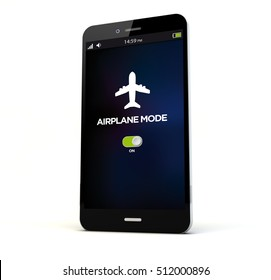 render of a phone with airplane mode on the screen isolated. Screen graphics are made up. 3d rendering.