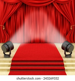 render of red curtains with stage lights