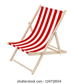 render of a red deck chair, isolated on white