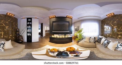 Render seamless panorama of living room interior design
