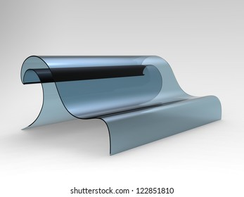 Render of a sofa shaped as a wave on a white background