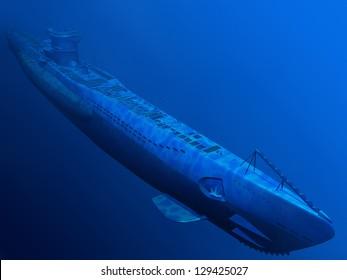 Render of submarine under water side top