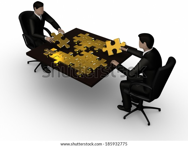 Render of two businessman connecting piece of the jigsaw
