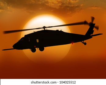 Render UH-60 Black hawk helicopter flies at sun in the middle east