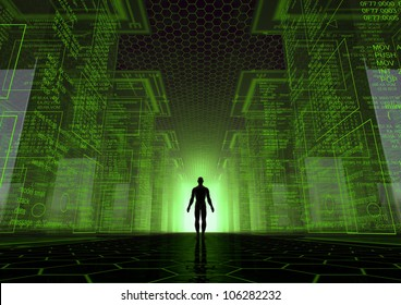 render of a virtual world with a man between giant cubes