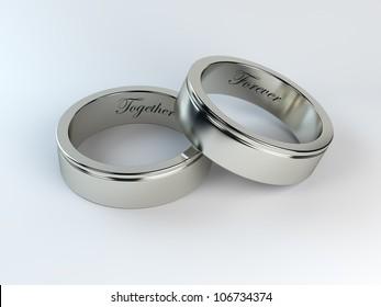 render of wedding rings with engraving