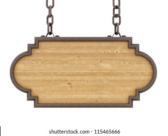 render of a wood sign, isolated on white