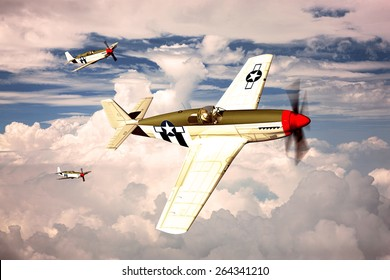 Render of a ww2 P-51B Mustang 3D model in flight - generic camouflage