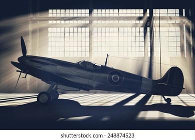Render of a ww2 Supermarine Spitfire 3D model placed in hangar