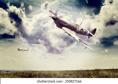 Render of a ww2 Supermarine Spitfire 3D model in flight, instagram old nostalgia effect