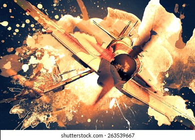Render of a ww2 Supermarine Spitfire 3D model in flight