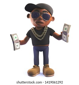 Rendered 3d image of a black 3d hip hop rap singer character holding wads of US Dollar bills