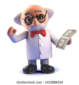 Rendered 3d image of a crazy mad scientist professor holding a wad of US dollar bills