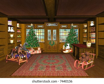 rendered Christmas Shop with toys and gifts
