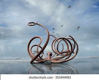 rendered illustration of a giant octopus crawling out of the Pacific Ocean onto a Washington coast beach