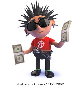 Rendered image in 3d of a rich punk rock cartoon character in 3d holding wads of US dollar bills