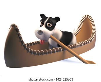 Rendered image of a funny cartoon puppy dog in a kayak canoe, 3d illustration